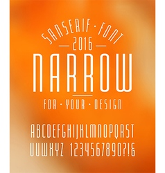 Narrow sanserif font and numbers vector image