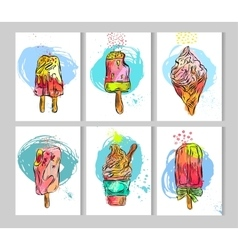 Hand draw texture ice cream card template set vector image