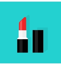 Red open lipstick isolated on color background vector