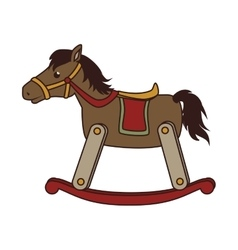 Wooden horse toy icon vector