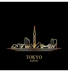 Gold silhouette of tokyo on black background vector