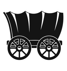 Ancient western covered wagon icon simple style vector