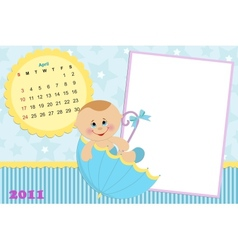 Babys calendar for april 2011 vector image vector image
