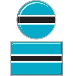 Botswana round and square icon flag vector image vector image