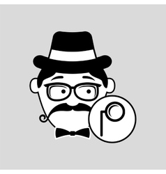Cartoon hipster monocle glass retro vector