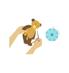 Child making toy bear with only hands vector