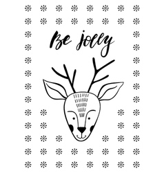 Cute christmas greeting card with deer vector