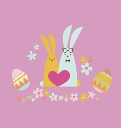 Easter card with rabbits in love vector image