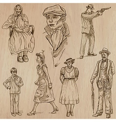 Fashion between the years 1870-1970 vector