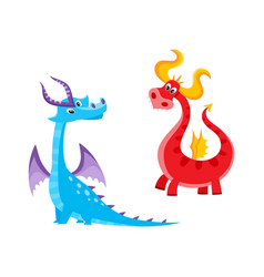 Flat cartoon dragons with horns wings set vector