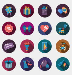 Gift flat circle colorful shop icons with shadow vector