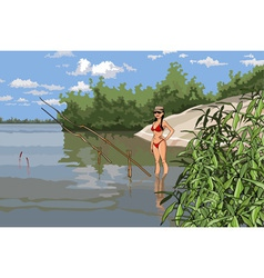 Girl in a bathing suit is fishing on the river vector