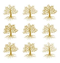 Golden decorative trees like olive and oak ash vector image vector image