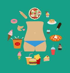 Junk food obesity vector