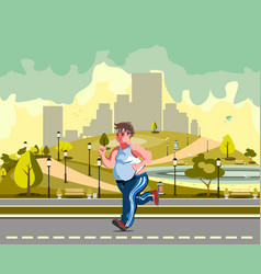 Man running in the park and sweating to lose vector