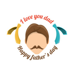 Man with mustache to fathers day celebration vector
