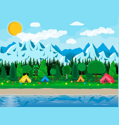 meadow with grass and camping lake vector image vector image