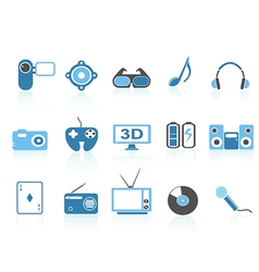 media entertainment icons blue series vector image