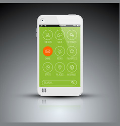 Modern mobile phone with flat user interface vector