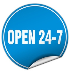 Open 24 7 round blue sticker isolated on white vector