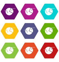 percentage diagram icon set color hexahedron vector image