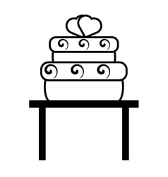 pictogram big cake with hearts wedding over table vector image