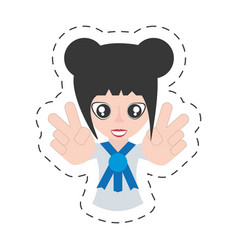 portrait japanese girl student uniform vector image vector image