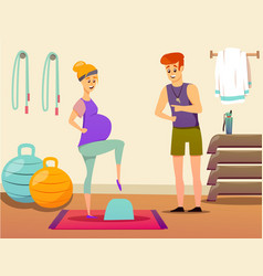 Pregnant woman sport instructor composition vector