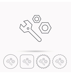 Repair icon spanner tool with screw-nut sign vector