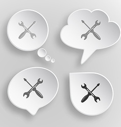 Screwdriver and spanner White flat buttons on gray vector image
