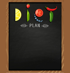 The concept of diet on the chalkboard vector