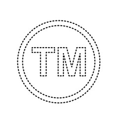 Trade mark sign black dashed icon on vector
