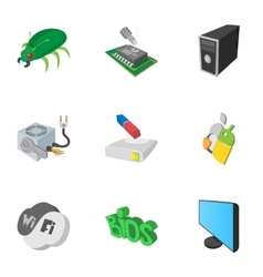 Treatment computer icons set cartoon style vector image