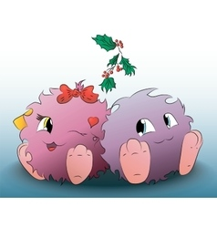 Two cute cartoon monster christmas mistletoe vector