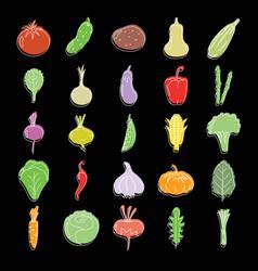 vegetables set doodle for vector image