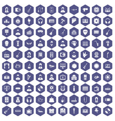 100 music icons hexagon purple vector image vector image