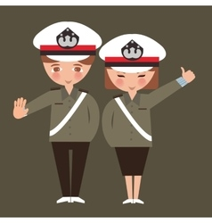 Kids boy and girl wearing police cop uniform vector