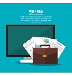 Computer office work time supply icon vector