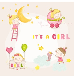 Set of cute baby girl - for baby shower vector