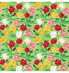 Hand painted roses seamless pattern vector