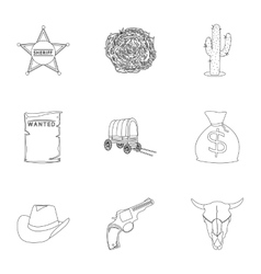 Wild west set icons in outline style big vector