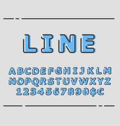 Trendy flat font with abstract lines vector