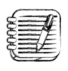 monochrome sketch of square button with spiral vector image