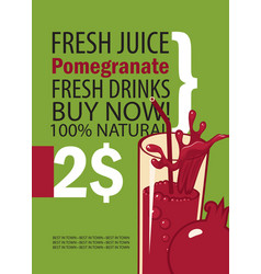 Banner with pomegranate and glass of juice vector