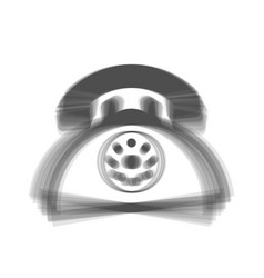 Retro telephone sign  gray icon shaked at vector