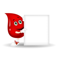 Blood cartoon character with blank sign vector image
