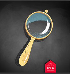 Magnifying glass on chalkboard background vector