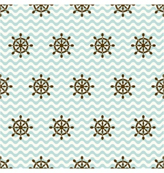 Seamless pattern of hand wheels and waves vector