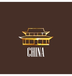 With chinese building icon vector