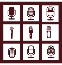 Collection of microphone icons vector